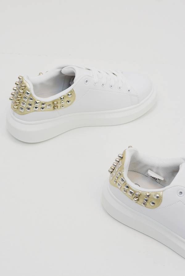 Gold Studded Back White Trainers J5 Fashion