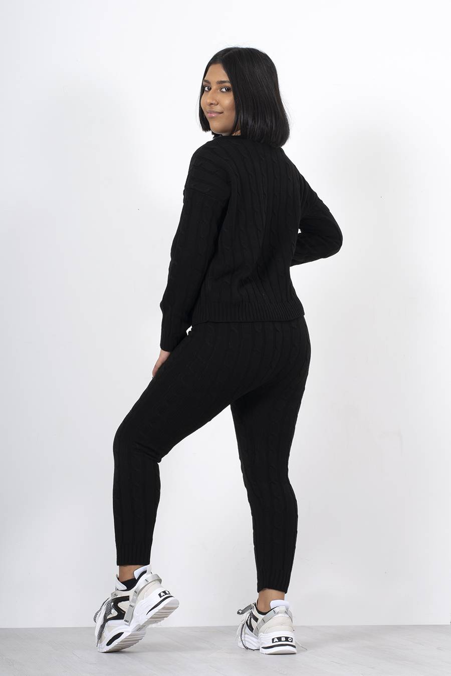 Black Cable Knit Long Sleeve Cropped Top And Legging Lounge Set J5 Fashion