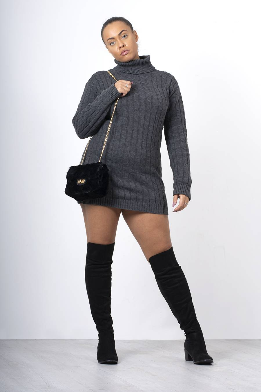 Charcoal Cable Knit Roll Neck Jumper Dress J5 Fashion