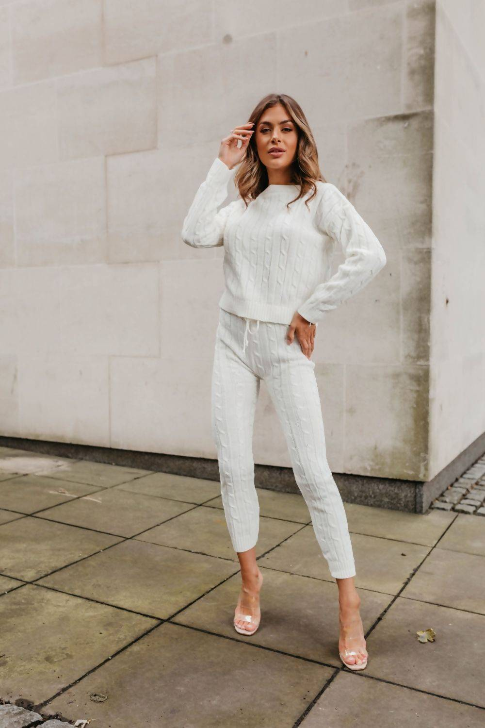 Grey Cable Knit Long Sleeve Cropped Top And Legging Lounge Set J5 Fashion