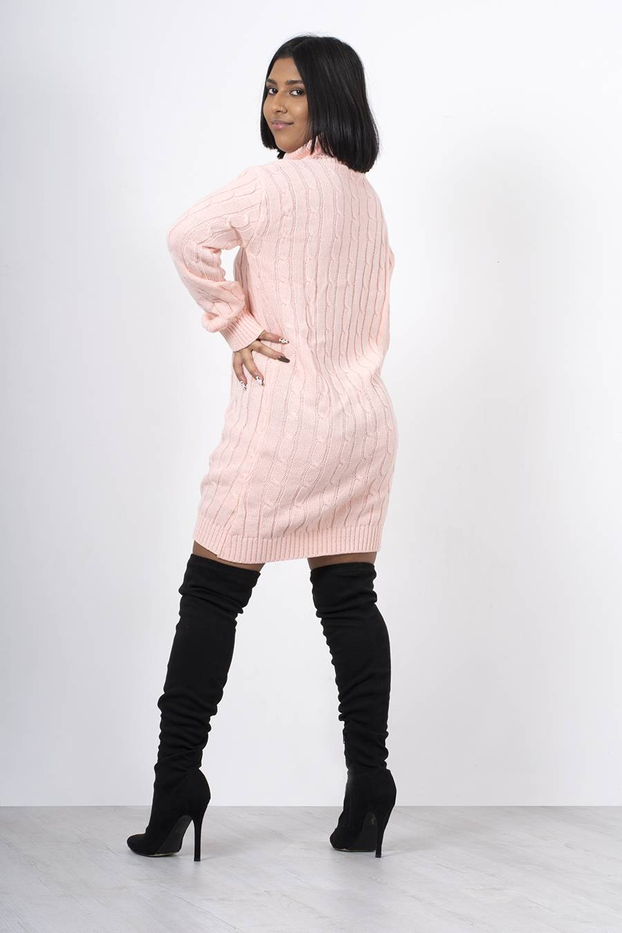 Dusty Cable Knit Roll Neck Jumper Dress J5 Fashion