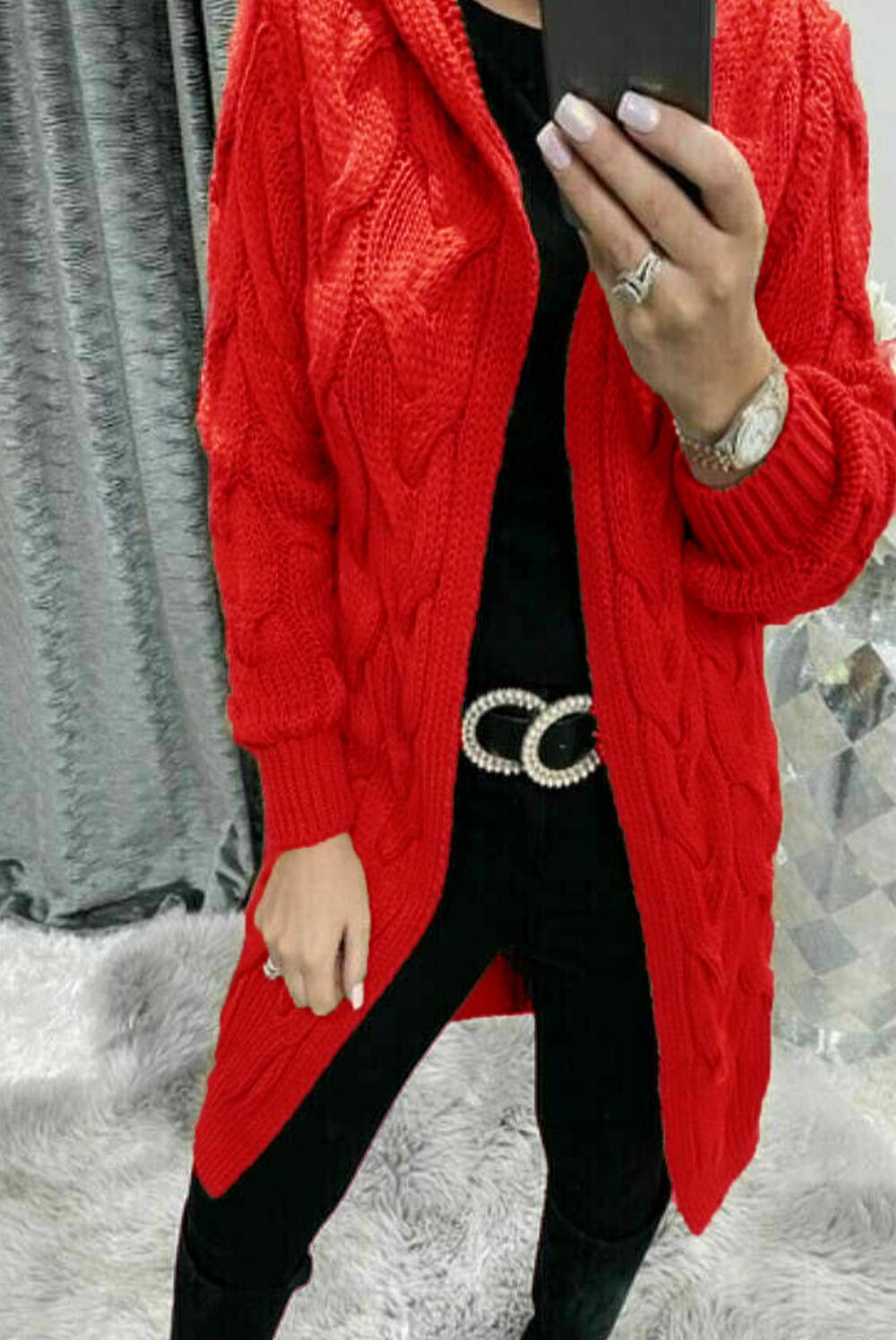 Red Cable Knit Hood Cardigan J5 Fashion