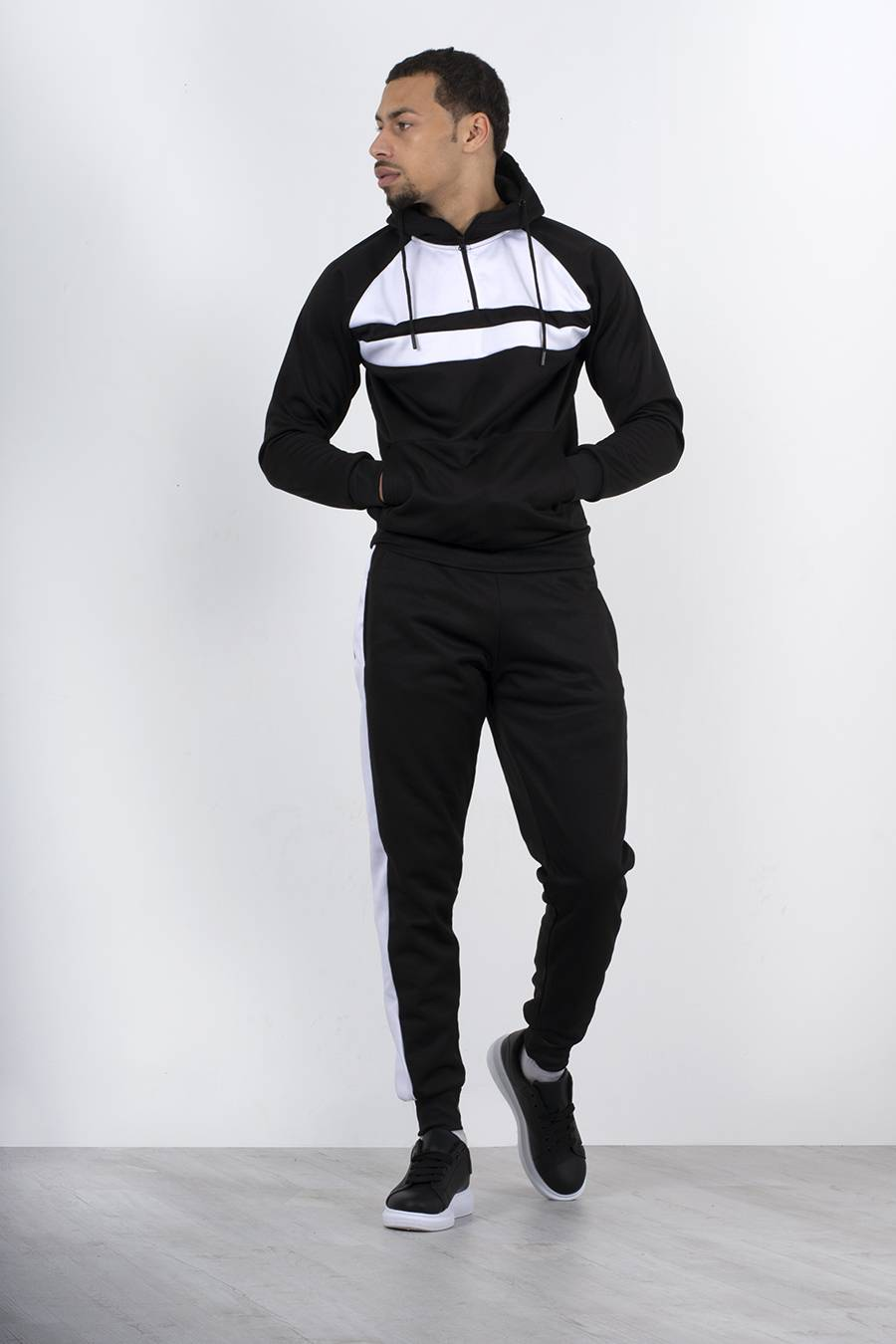 Black With White Front Panel Half Zip Hooded Tracksuit J5 Fashion