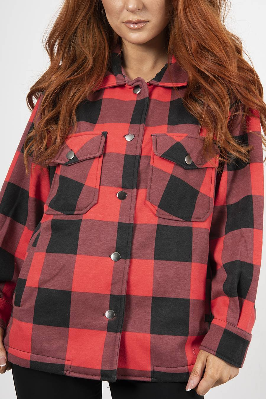 Red And Black Checked Jacket J5 Fashion