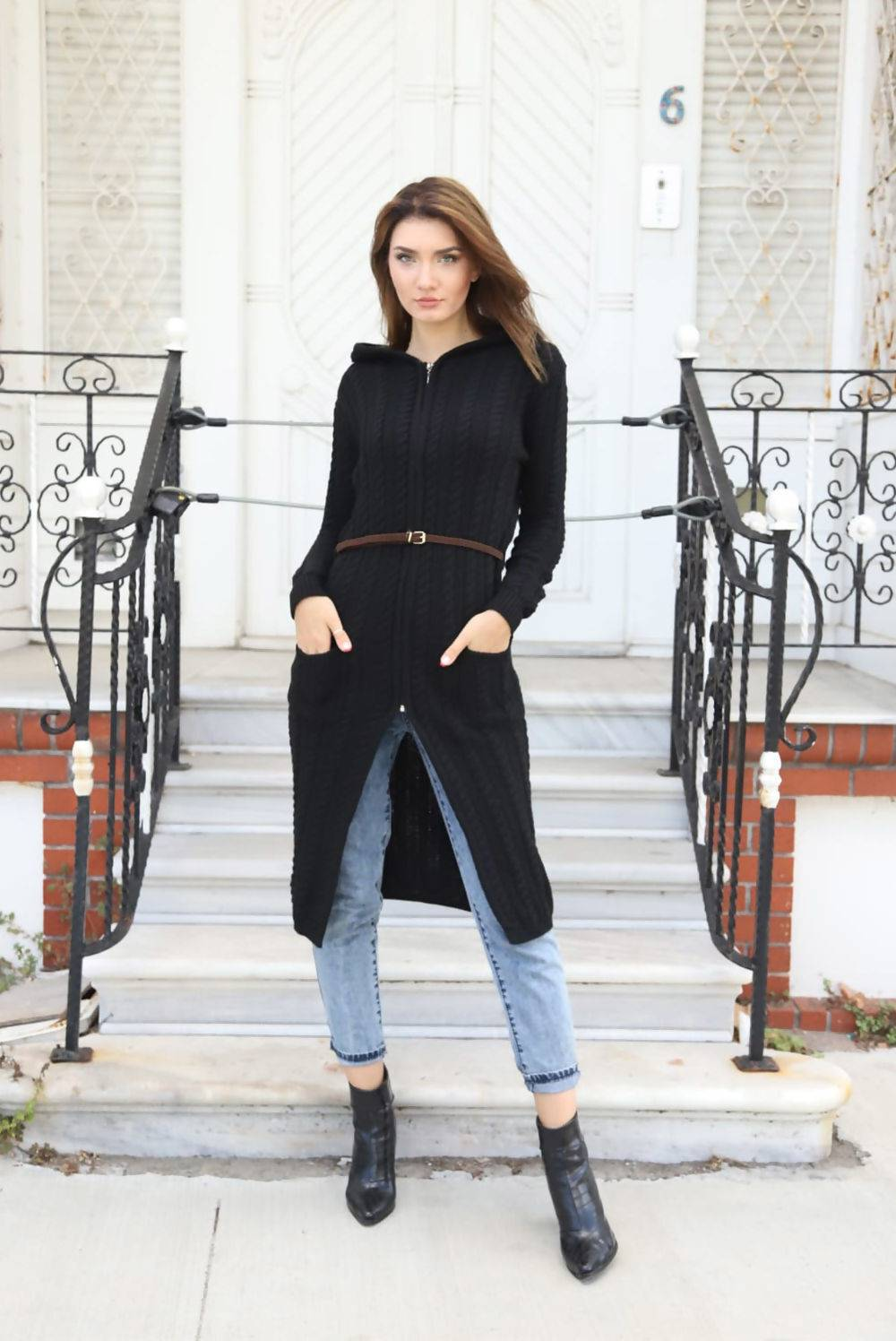 Purple Cable Knit Hooded Longline Cardigan With Belt J5 Fashion