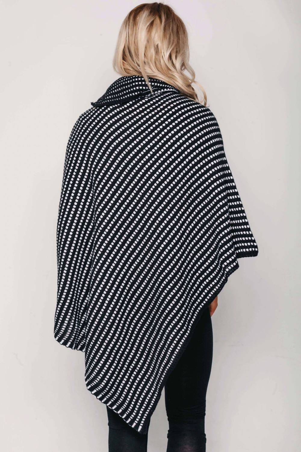 Black With Red Dot Detail Cable Knit Poncho J5 Fashion