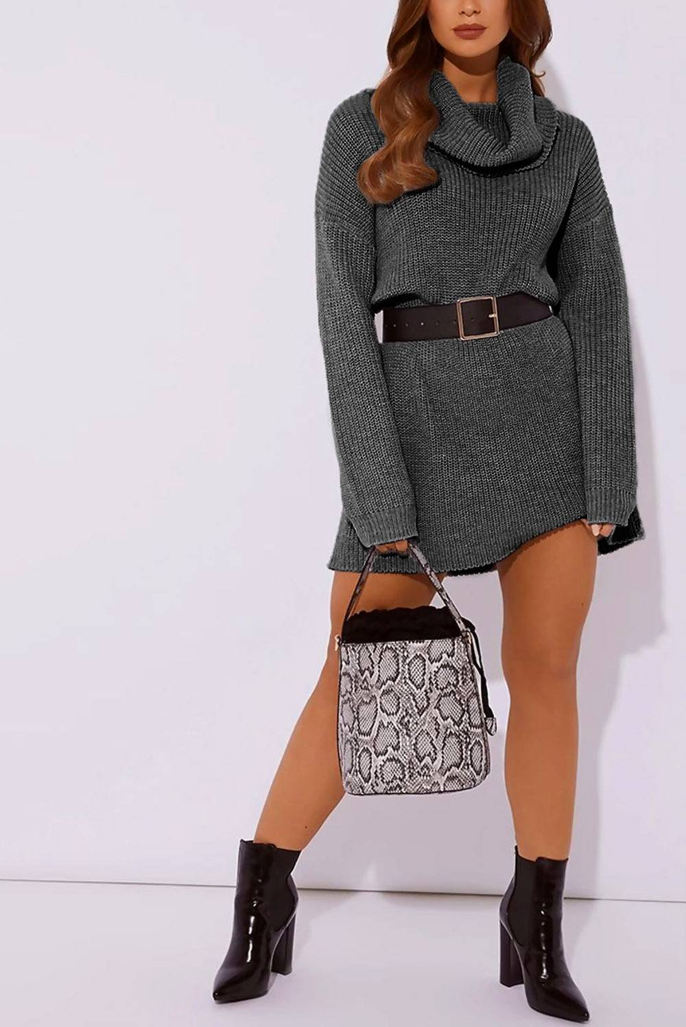 Charcoal Roll Neck Knitted Jumper Dress J5 Fashion