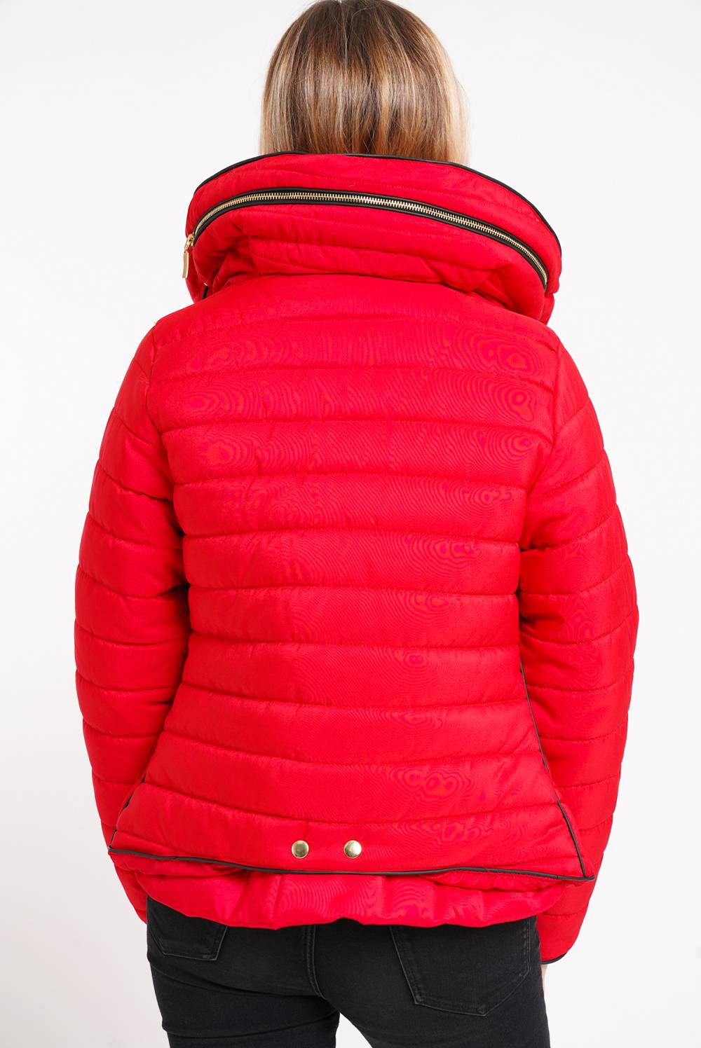 Red Quilted Padded Puffer Bubble Fur Collar Jacket J5 Fashion