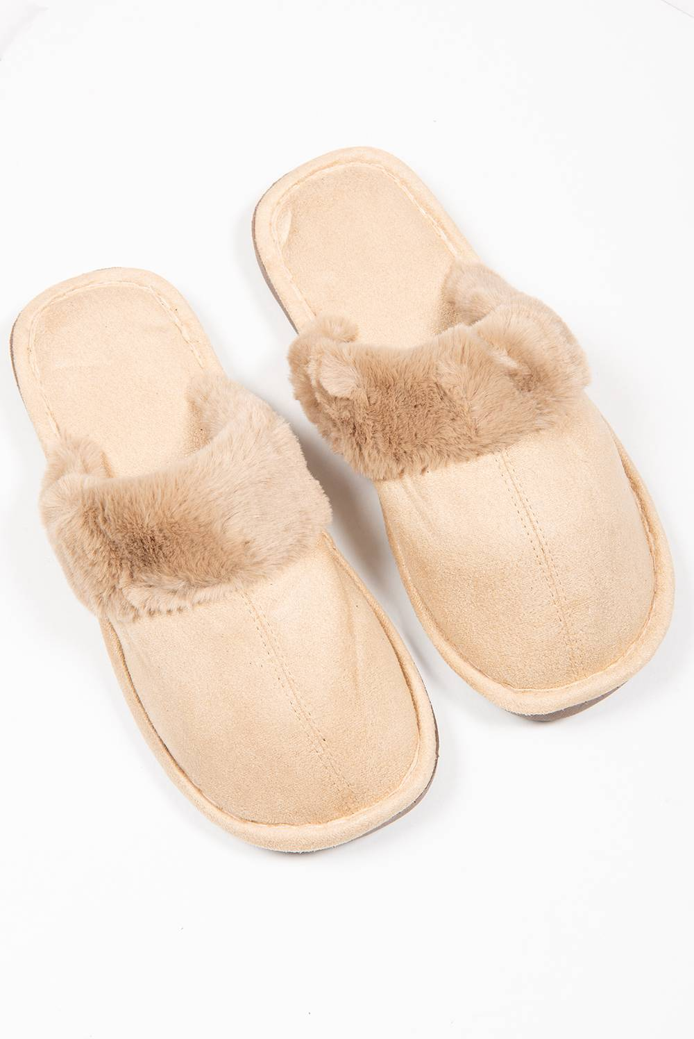 Camel Suede Mule Slippers J5 Fashion