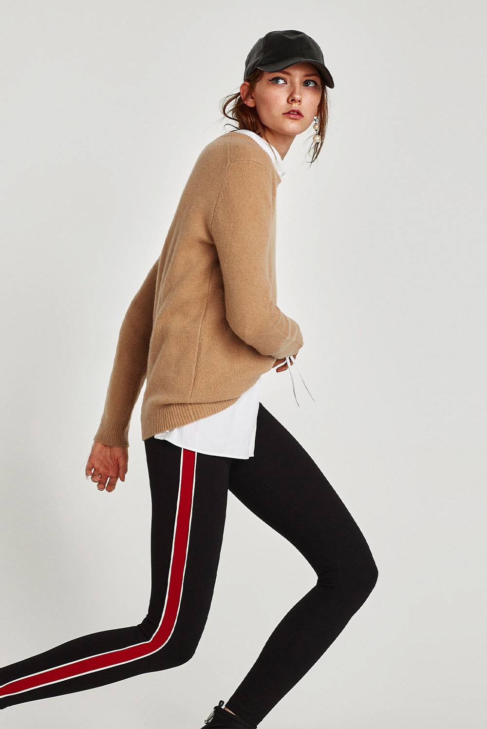 Black Leggings With Red Piped Side Stripes J5 Fashion