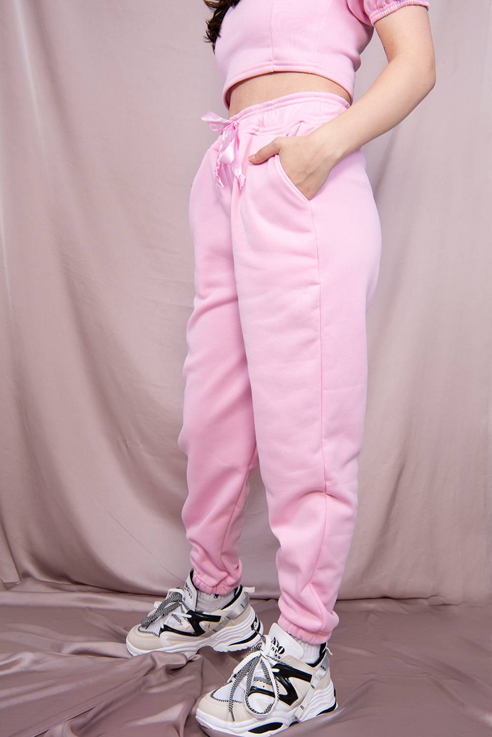 Pink Puff Sleeve Cropped Top And Jogger Lounge Set J5 Fashion