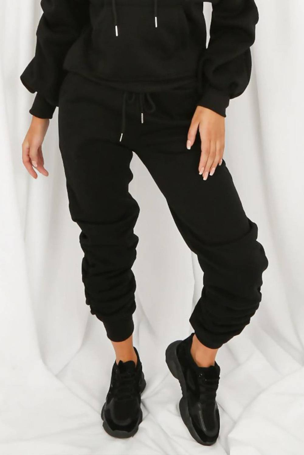 Black Fleece Lined Ruched Ankle Joggers J5 Fashion