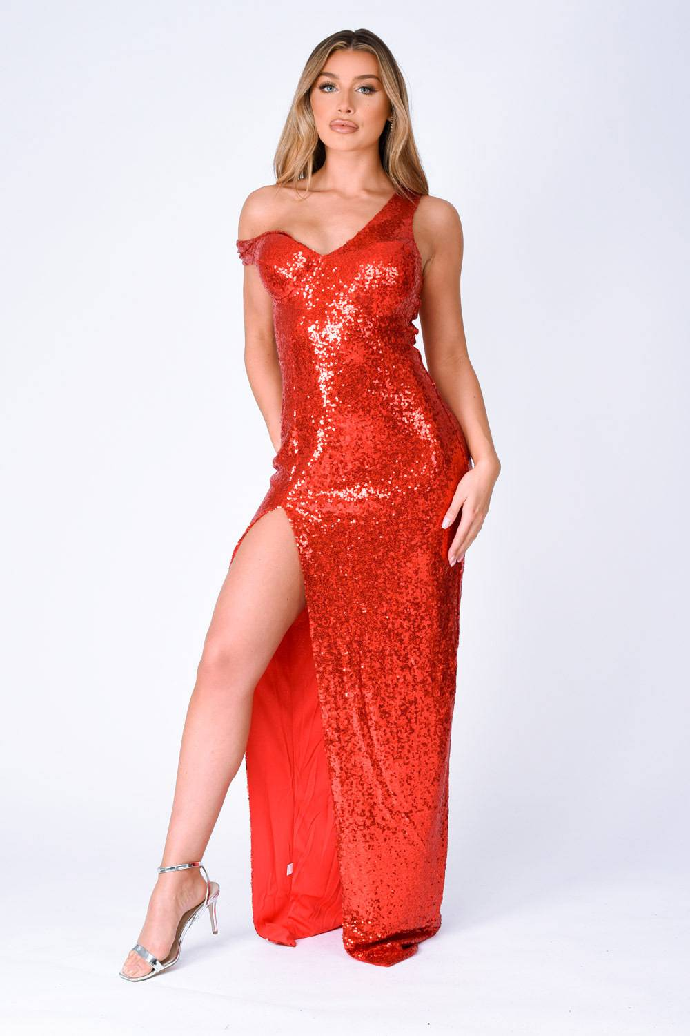 Marilyn Red Sequin Off The Shoulder Maxi Slit Dress Nazz Collection