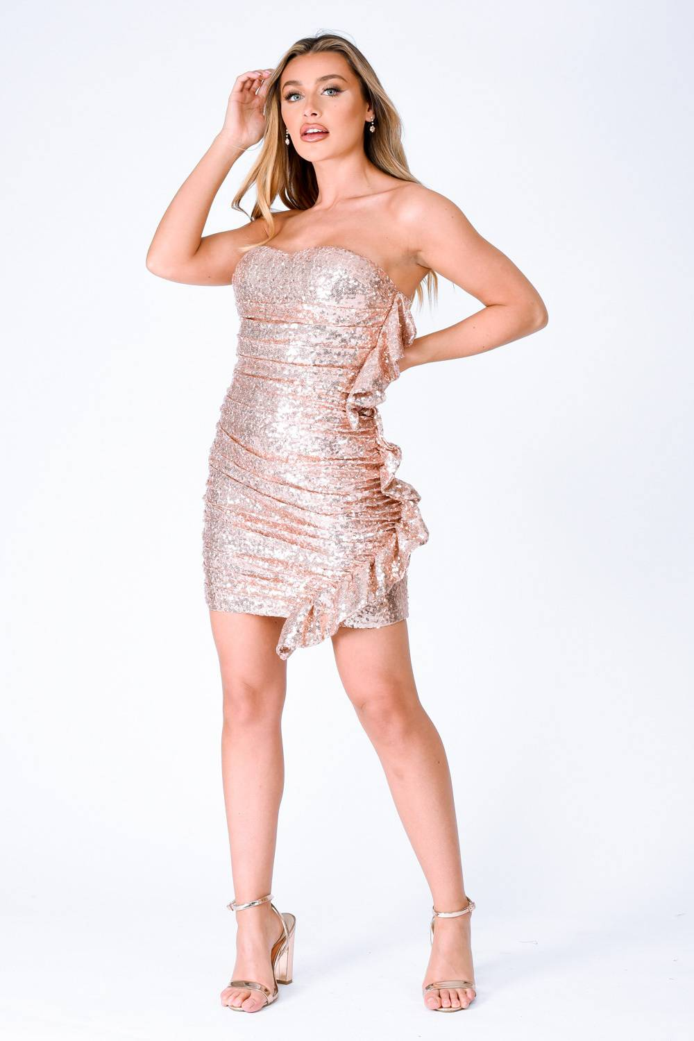 Ruffle Me Up Rose Gold Strapless Sequin Bodycon Dress Nazz Collection