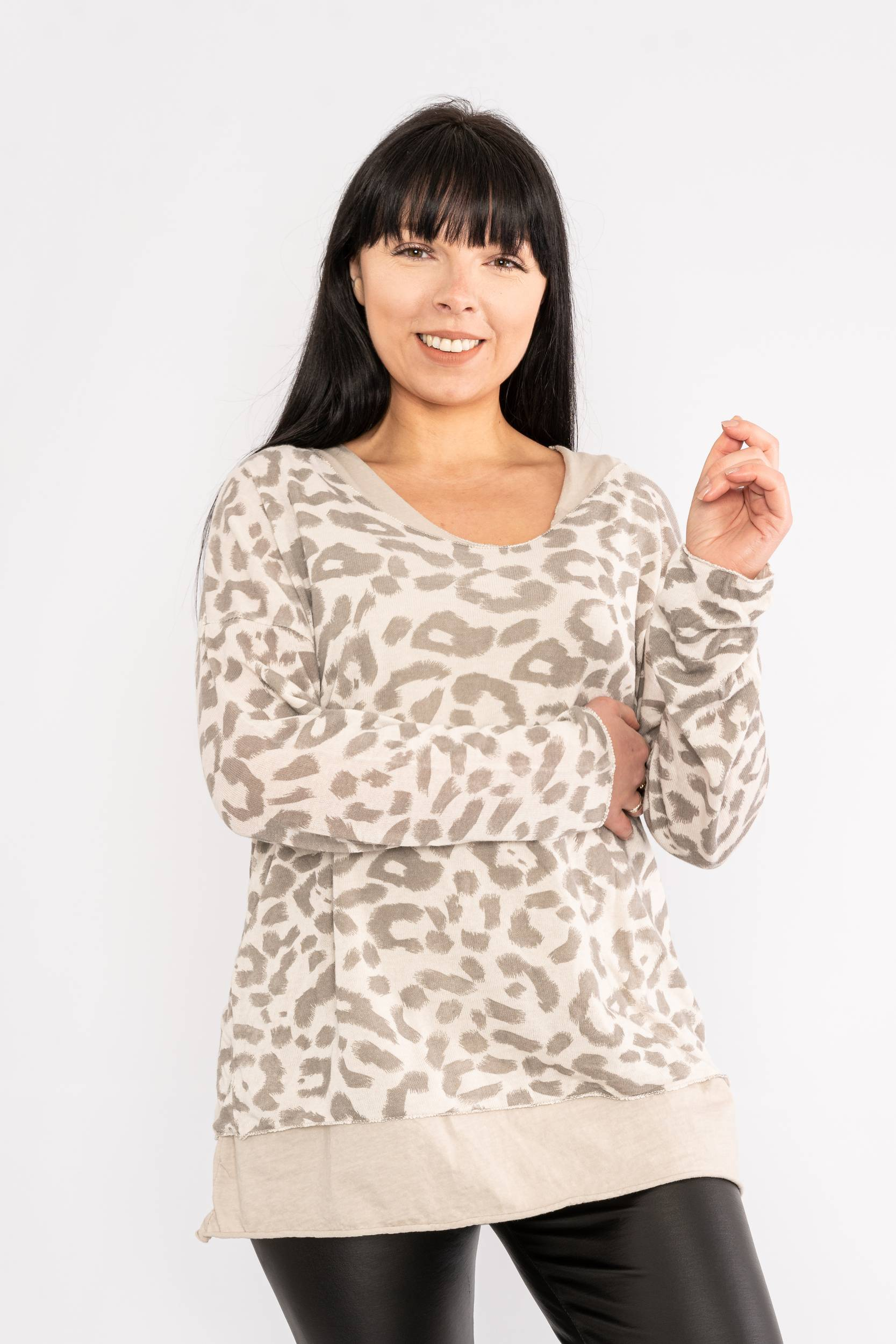 Two piece leopard print top beige Lucy Sparks