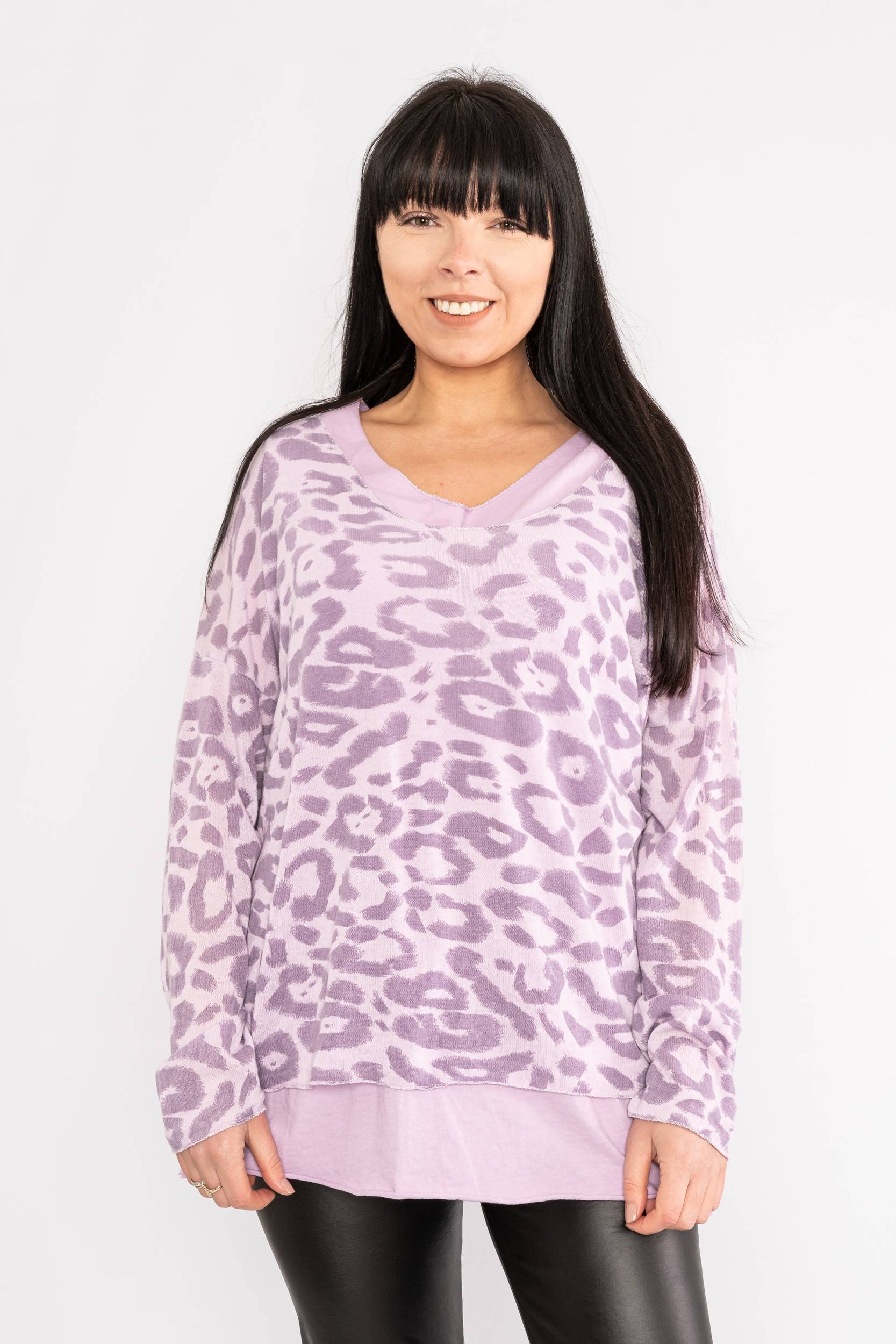Two piece leopard print top lilac Lucy Sparks