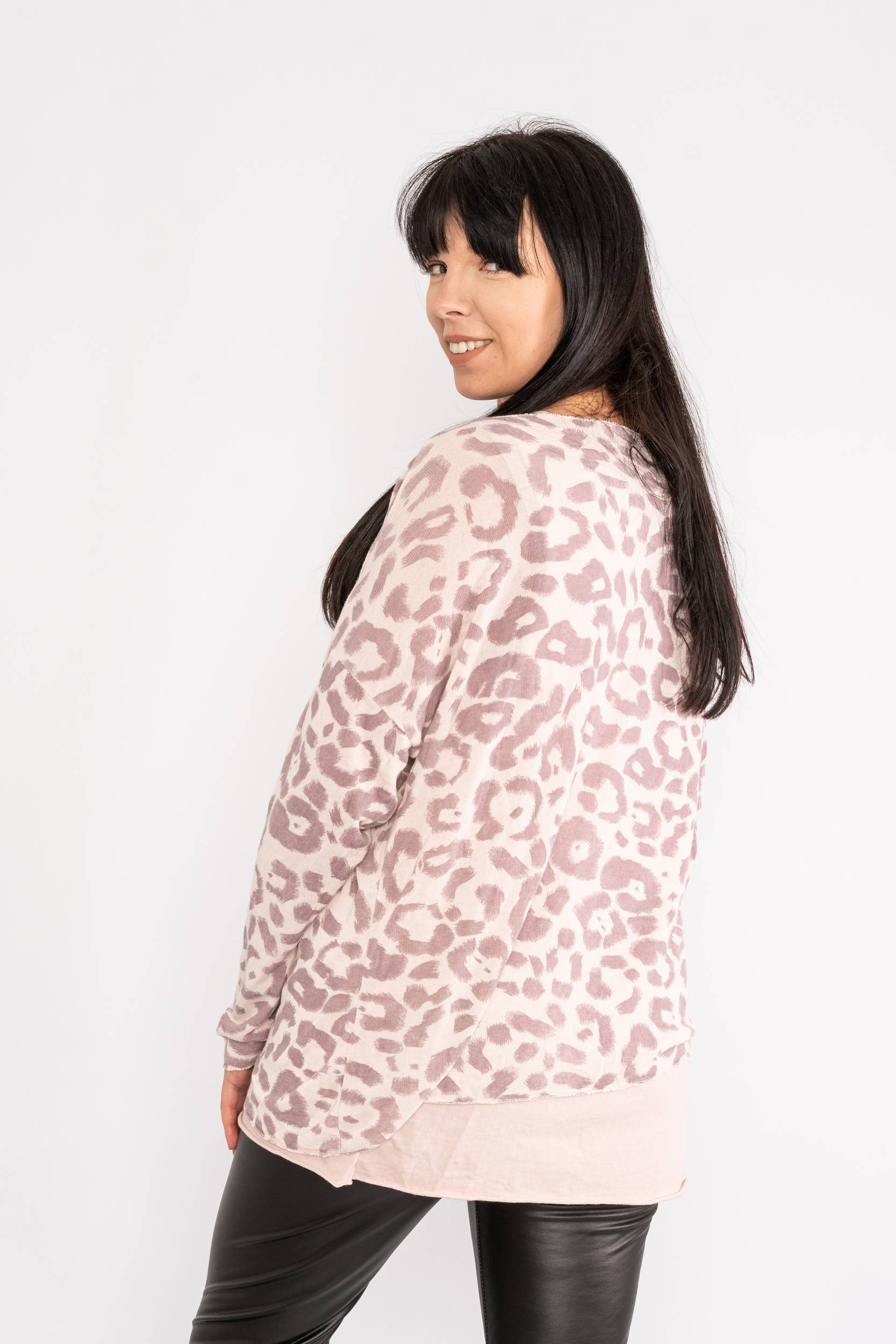 Two piece leopard print top pink Lucy Sparks