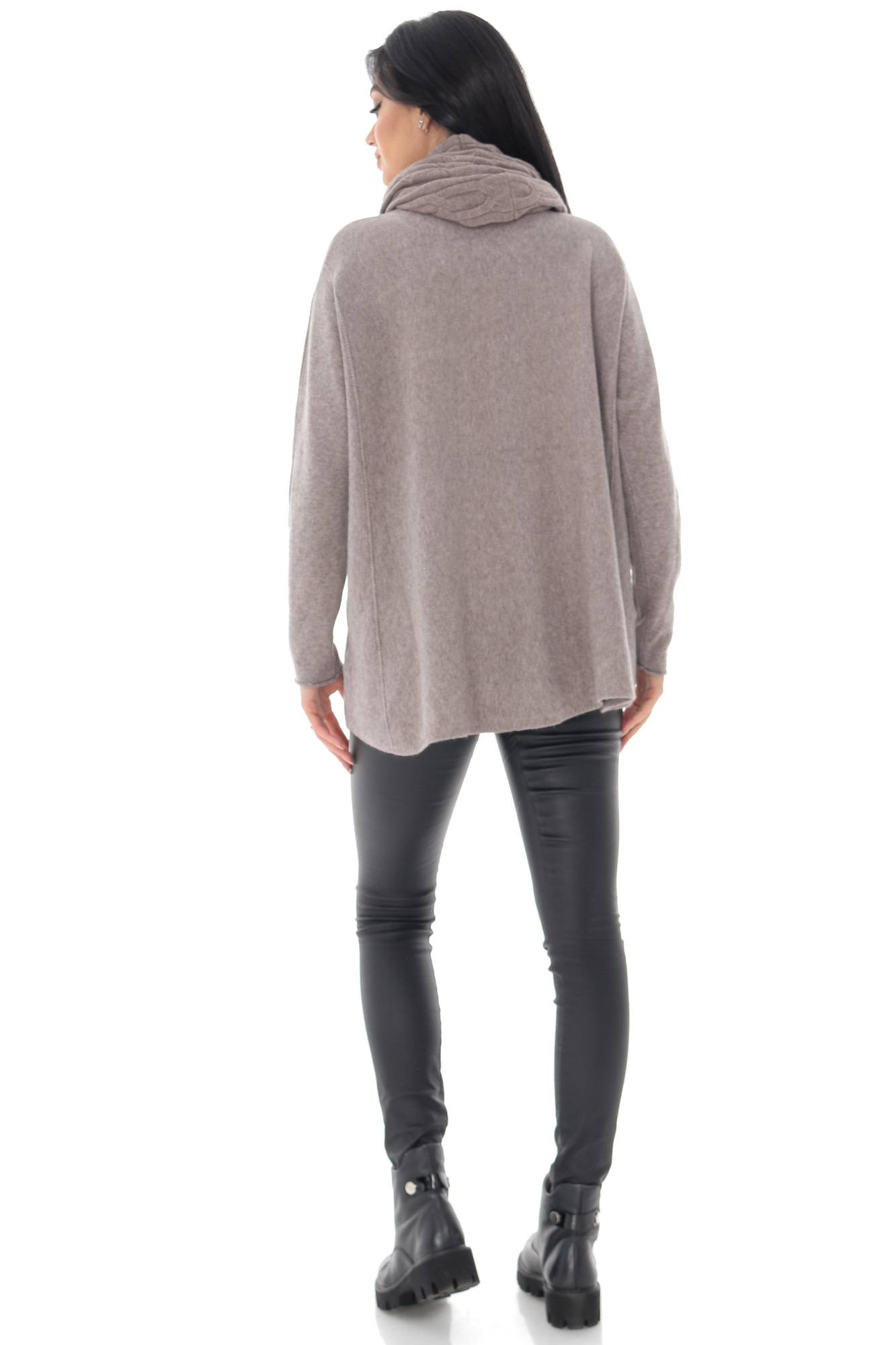 Oversized knitted jumper in beige with a separate snood - AIMELIA - BR2392 Aimelia Apparel Limited