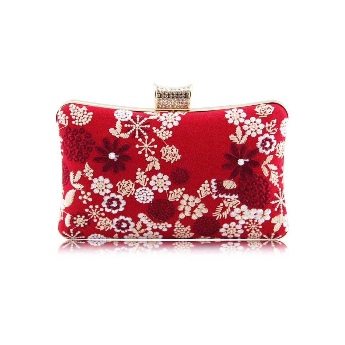 MoliMoi London  Womens  Red Vegan Floral Embroidered  Party Wedding Bridal Prom Evening  Clutch Purse  Bag - H008-200  Red Azury