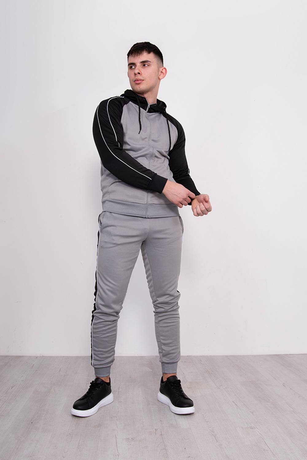Silver With Black Piped Raglan Tracksuit J5 Fashion