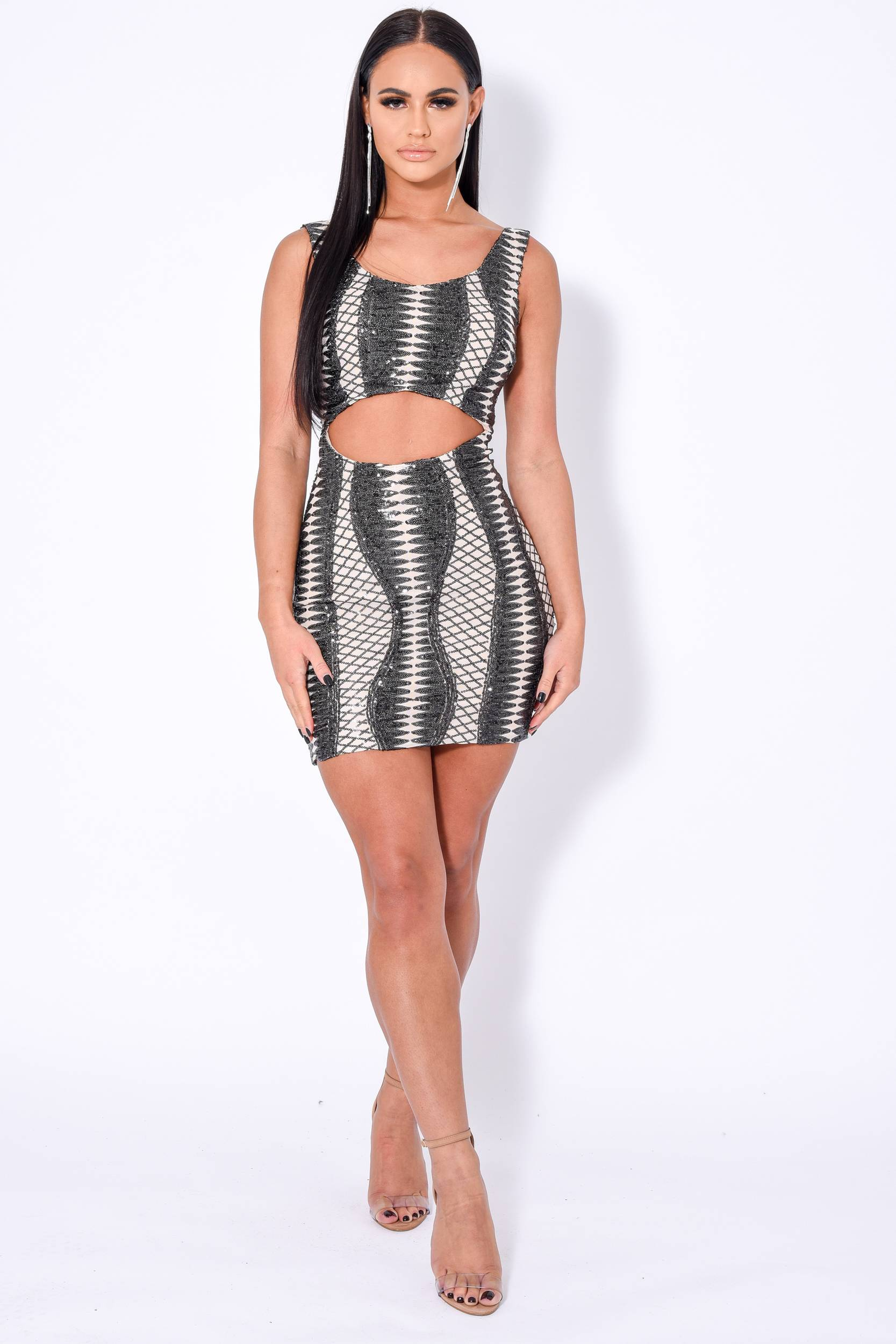 Till Midnight Black Cut Out Sequin Bandage Cage Bodycon Dress Nazz Collection