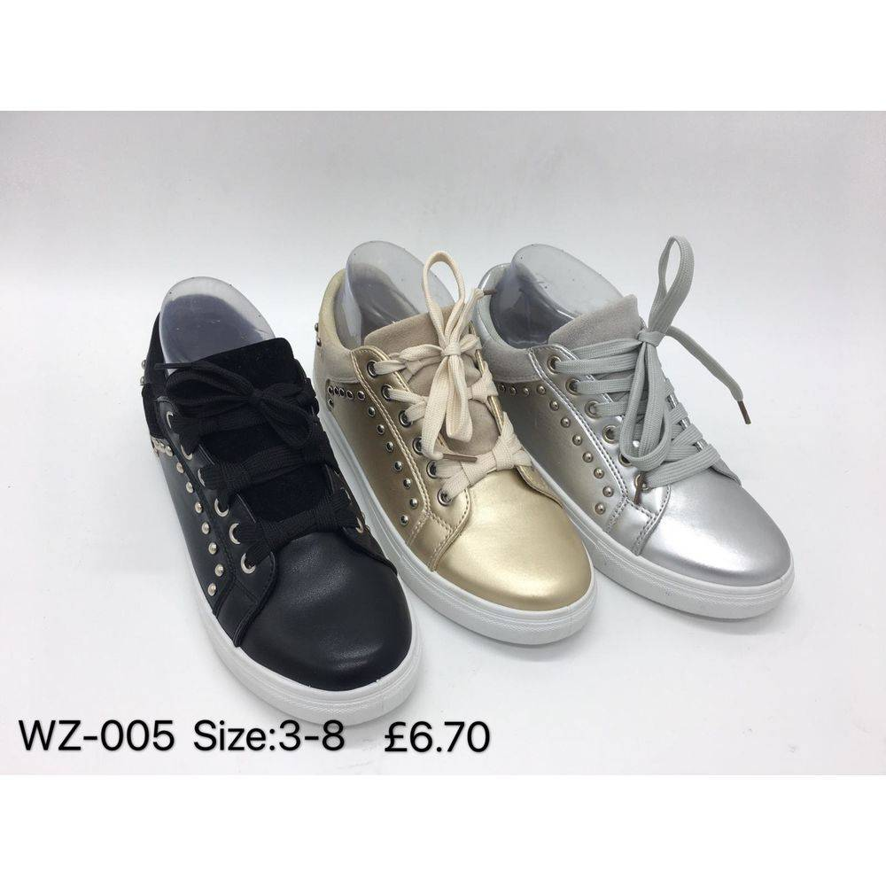 Faux Leather Stud Detail Trainers Happy Feet