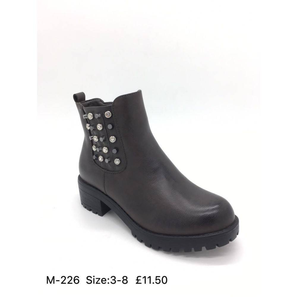 Faux Leather Studded Ankle Boots Happy Feet