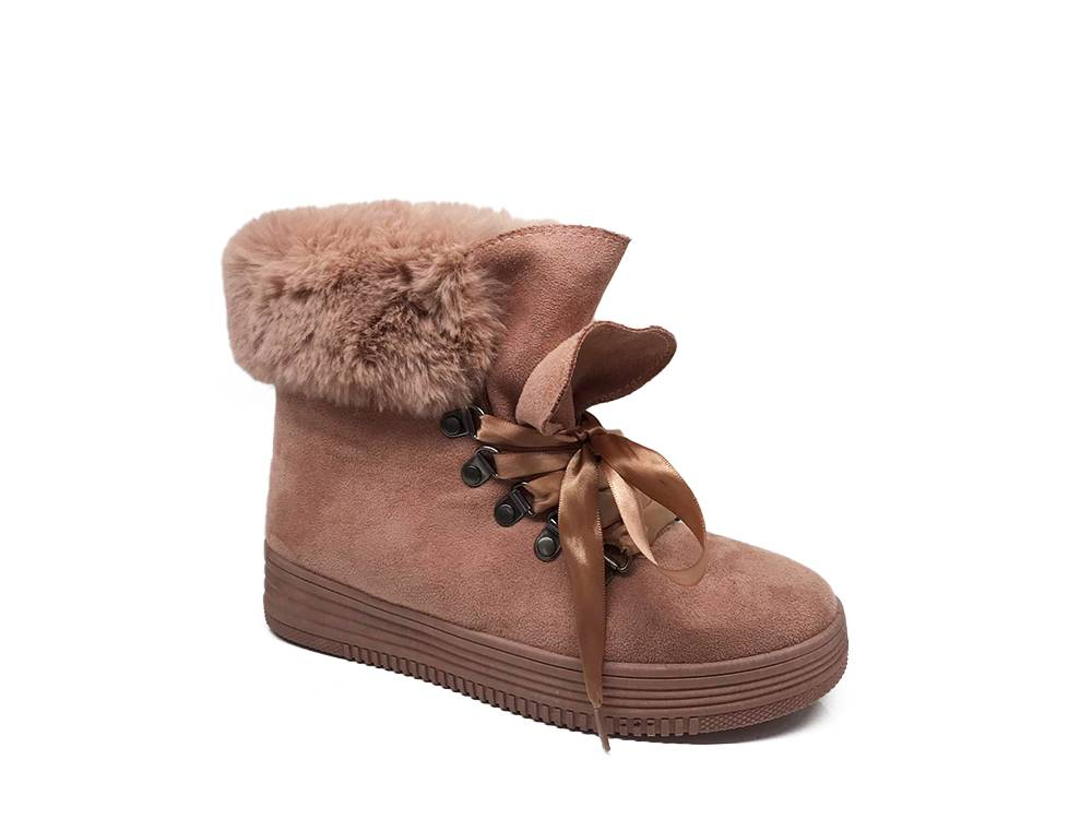 Women's Warm Fur Line Lace-Up Boots Top Staka