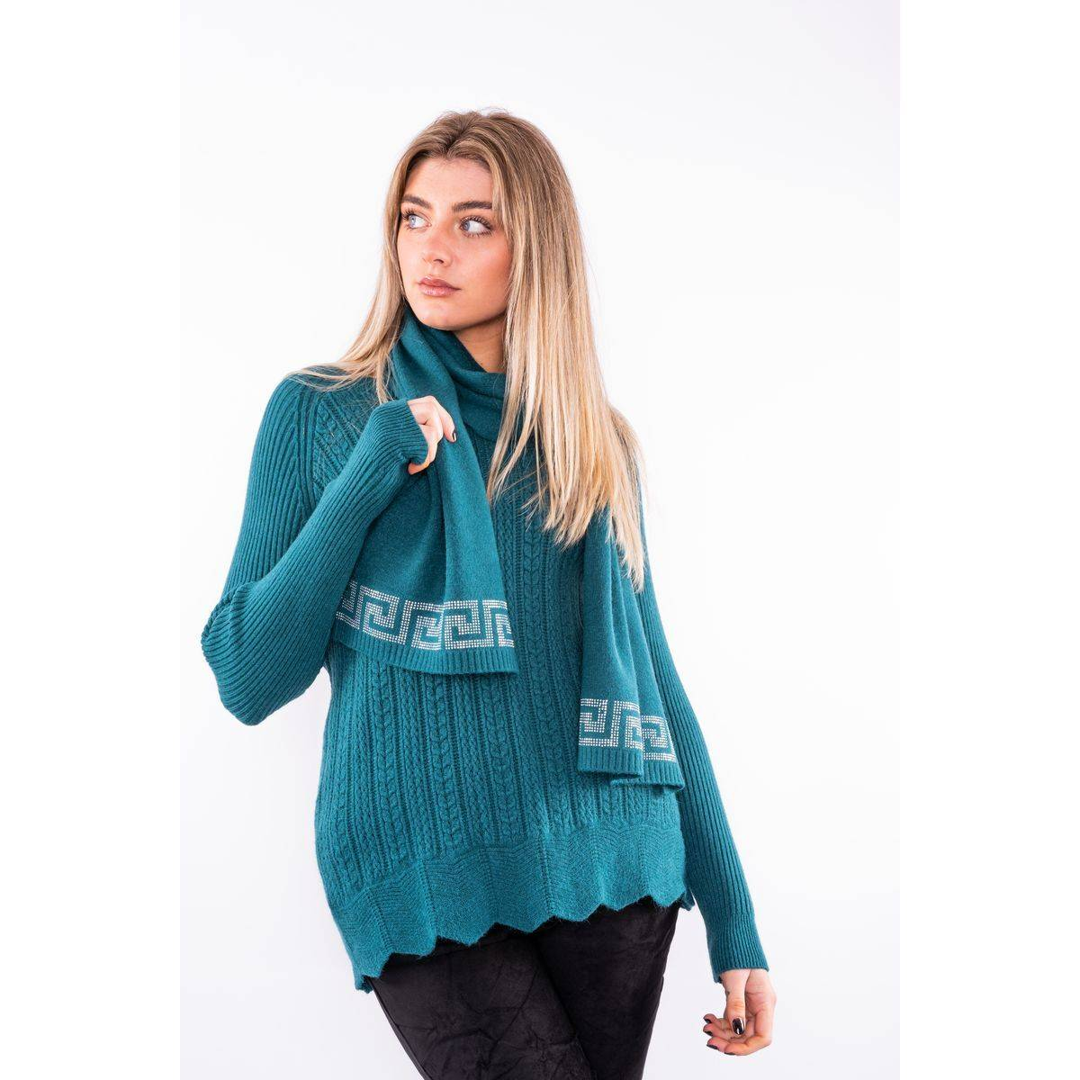 Textured jumper with sparkle scarf Lucy Sparks
