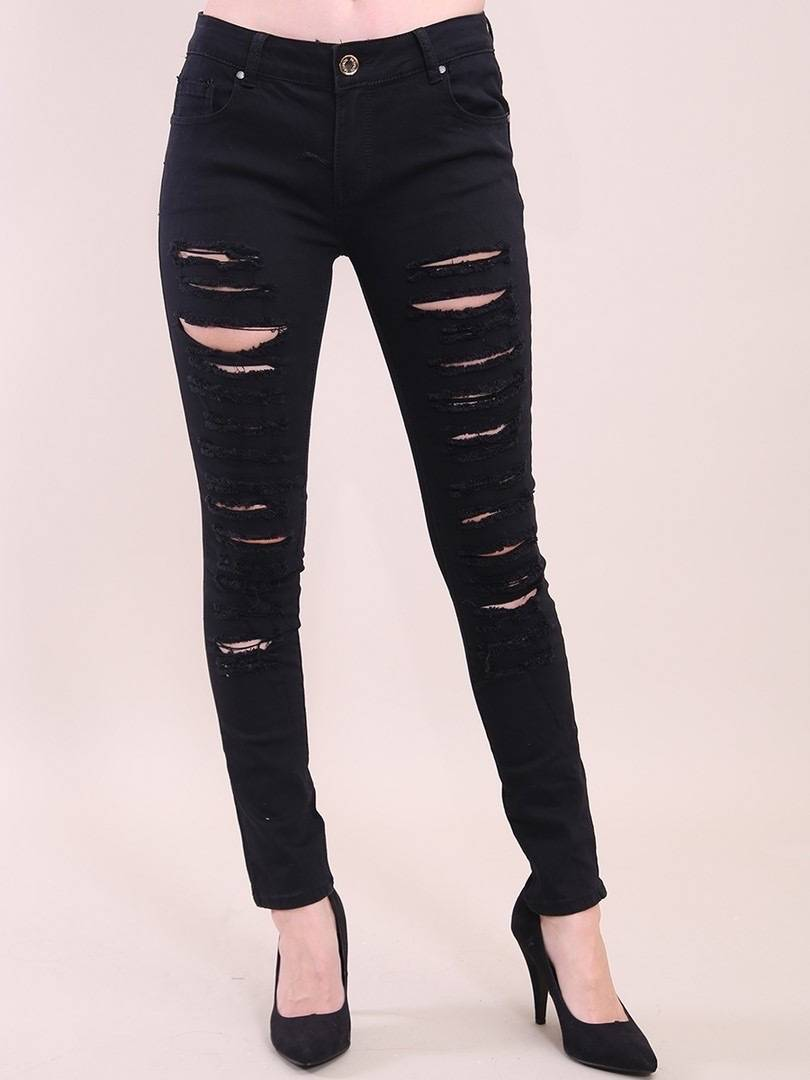 All over ripped black  high waisted skinny jeans Denim Club