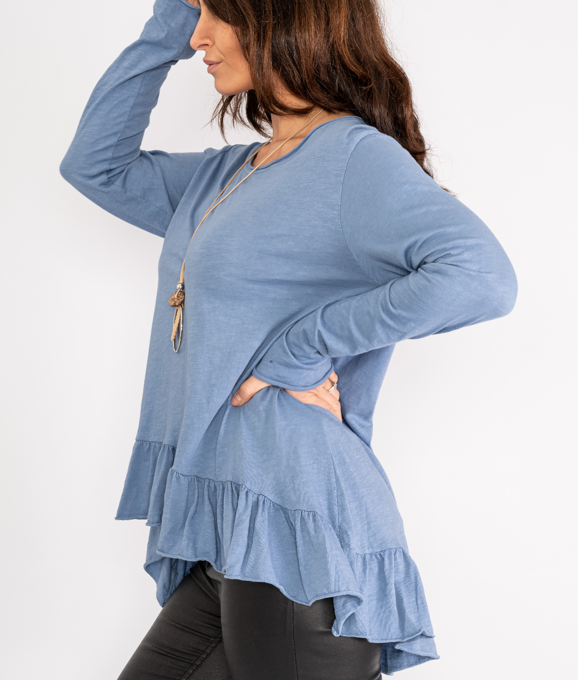 Ruffle trim top with necklace Lucy Sparks