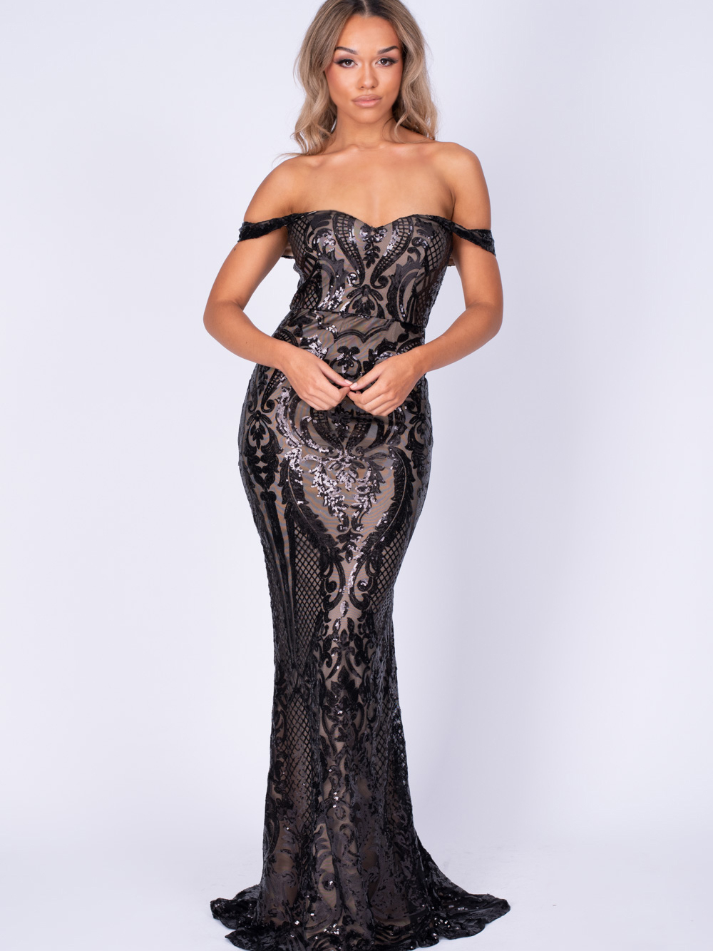 Layali Black Nude Bardot Sweetheart Sequin Embellished Maxi Fishtail Dress Nazz Collection