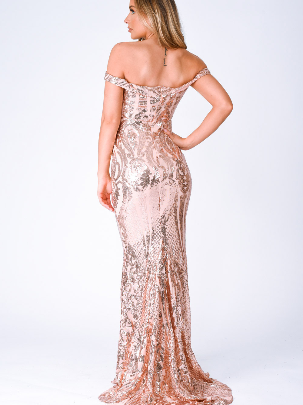 Layali Rose Gold Bardot Sweetheart Sequin Embellished Maxi Fishtail Dress Nazz Collection