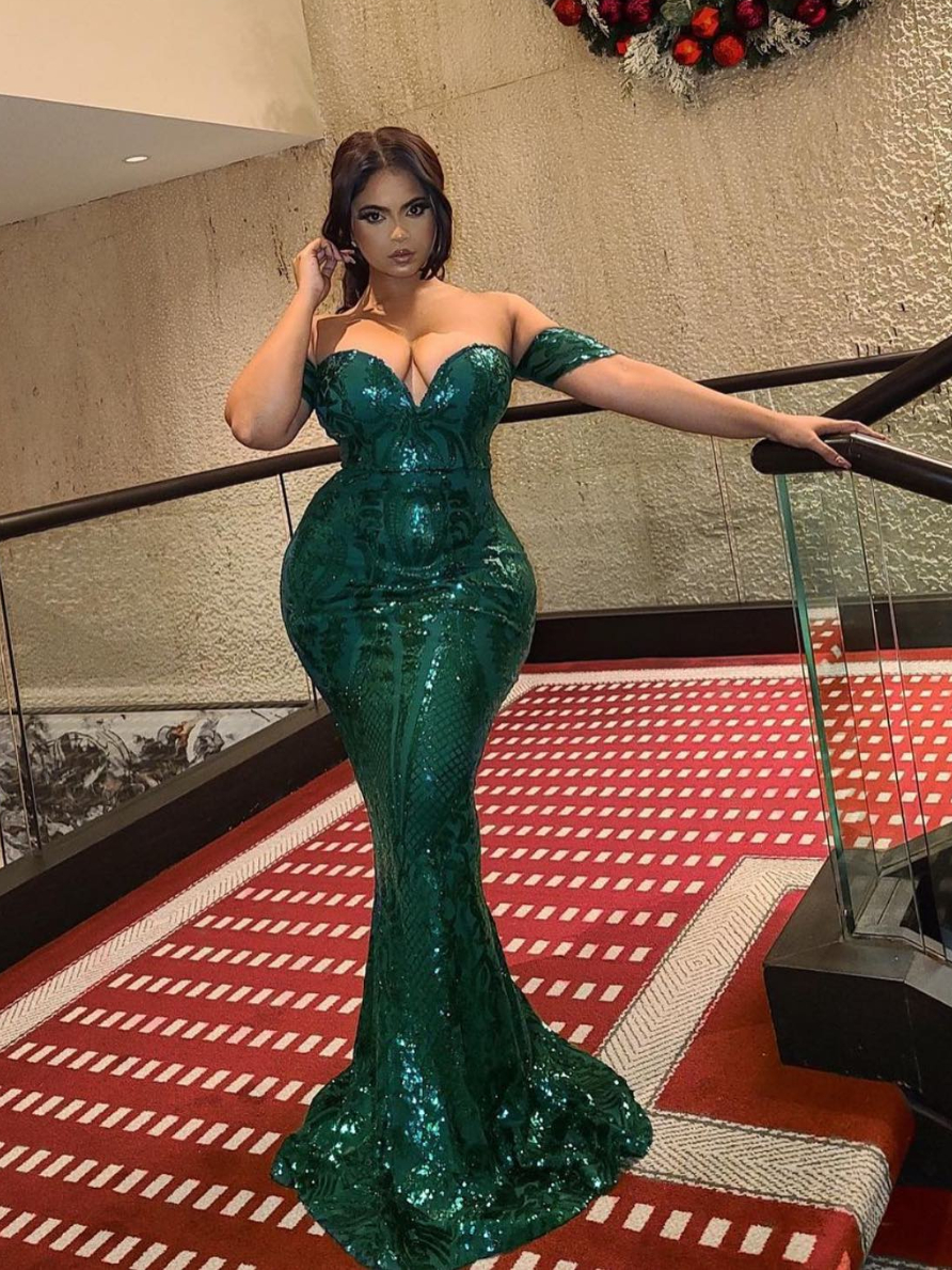 Lovestruck Emerald Green Luxe Sweetheart Off Shoulder Sequin Fishtail Dress Nazz Collection