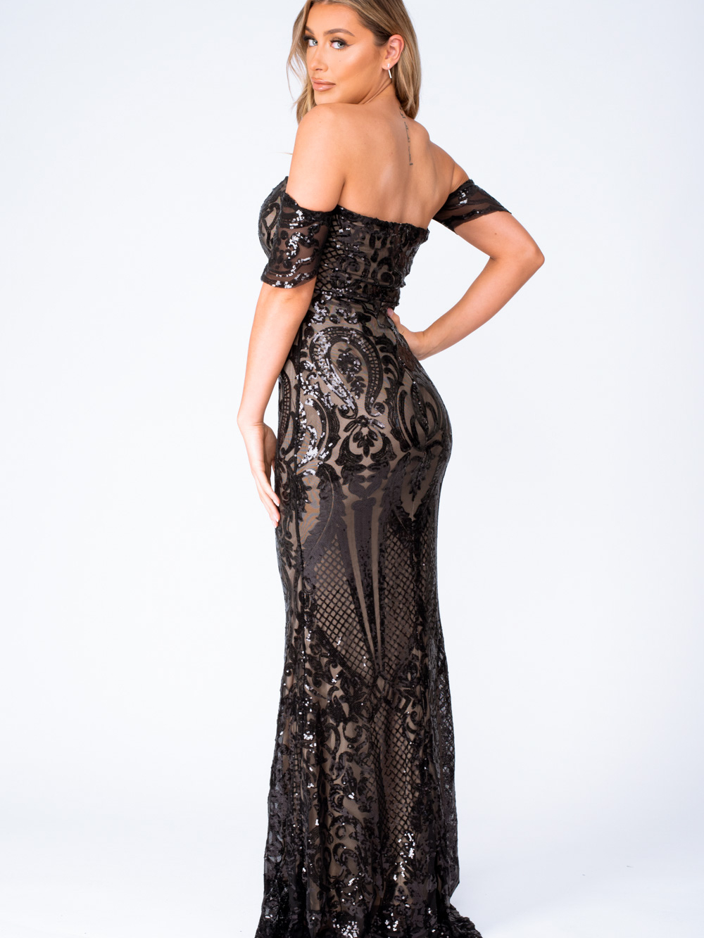 Lovestruck Black Luxe Sweetheart Off Shoulder Sequin Fishtail Dress Nazz Collection