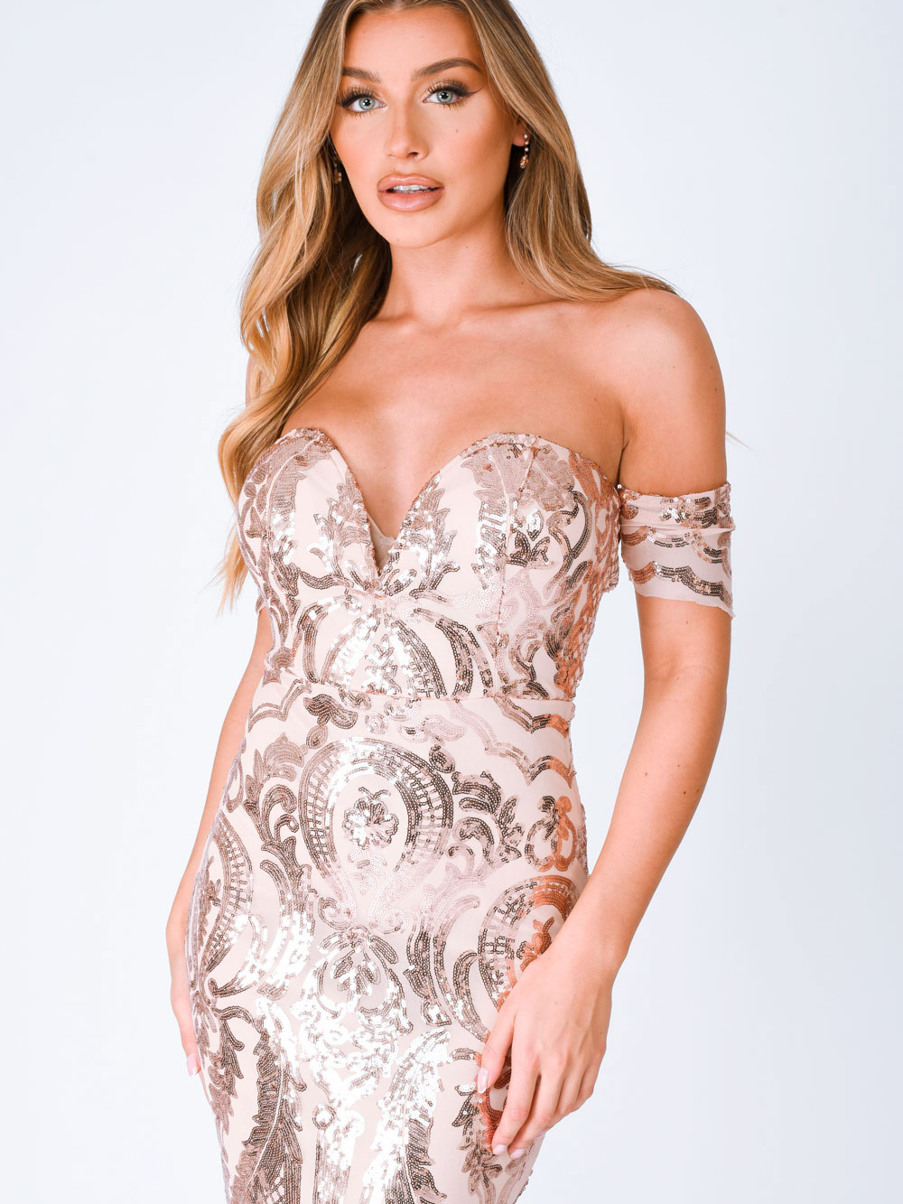 Lovestruck Rose Gold Luxe Sweetheart Off Shoulder Sequin Fishtail Dress Nazz Collection