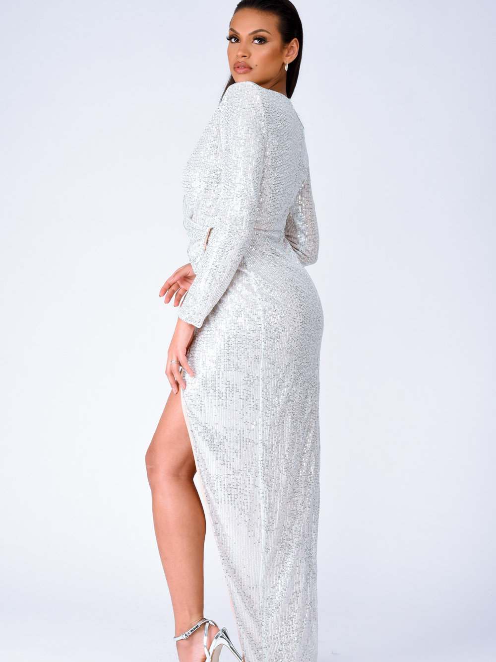 Gleaming Goddess Silver Sequin Plunge Wrap Slit Maxi Dress Nazz Collection