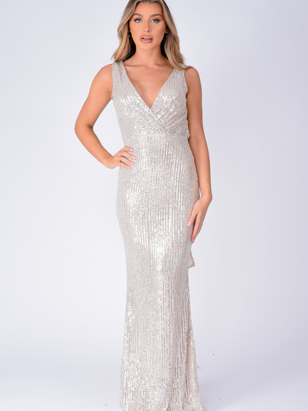 The One Silver Sequin Plunge Backless Maxi Dress Nazz Collection