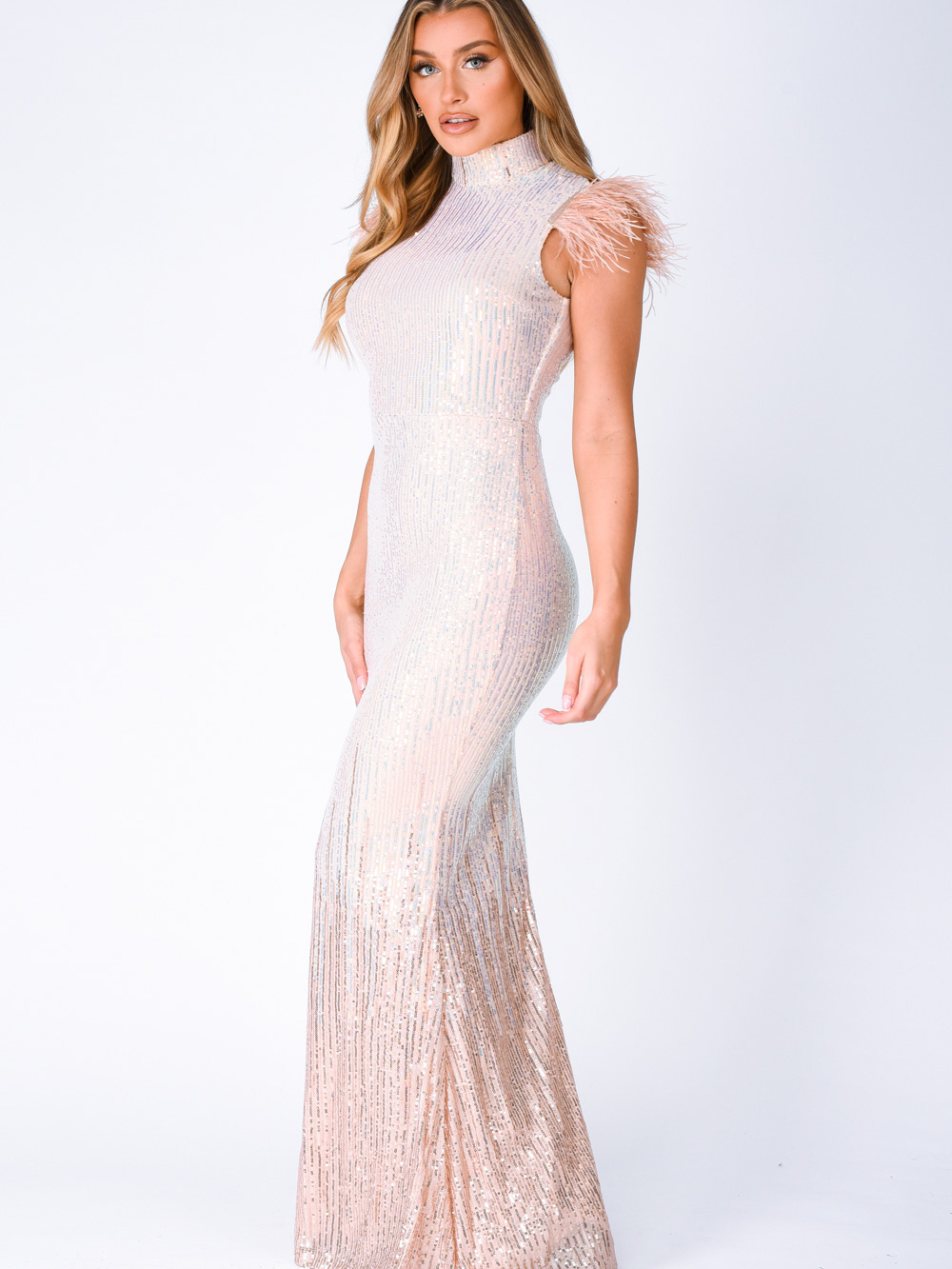 Bliss Vip Rose Gold Silver Ombre Sequin Feather Maxi Mermaid Dress Nazz Collection