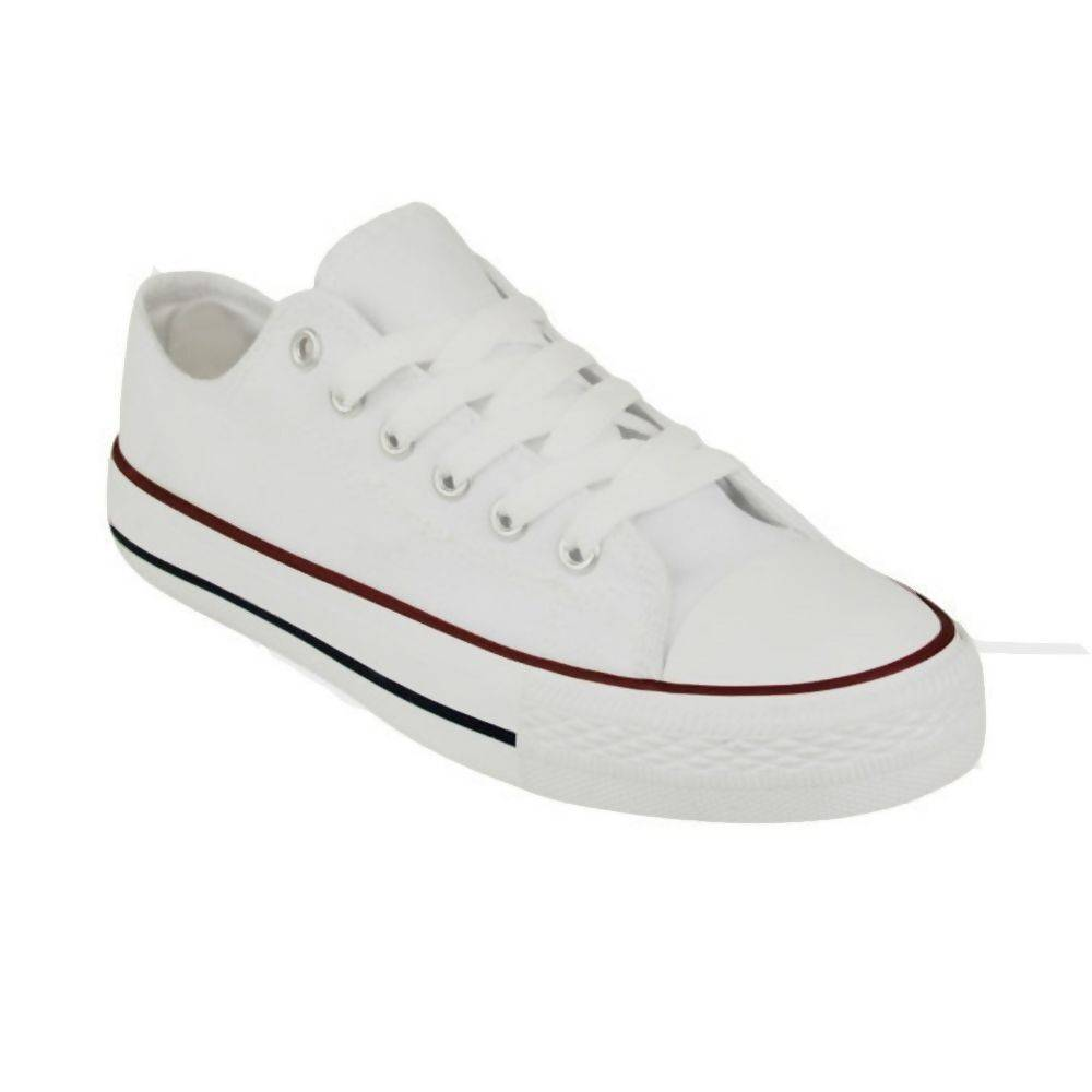 Grey Canvas Flat Lace Up Trainers J5 Fashion