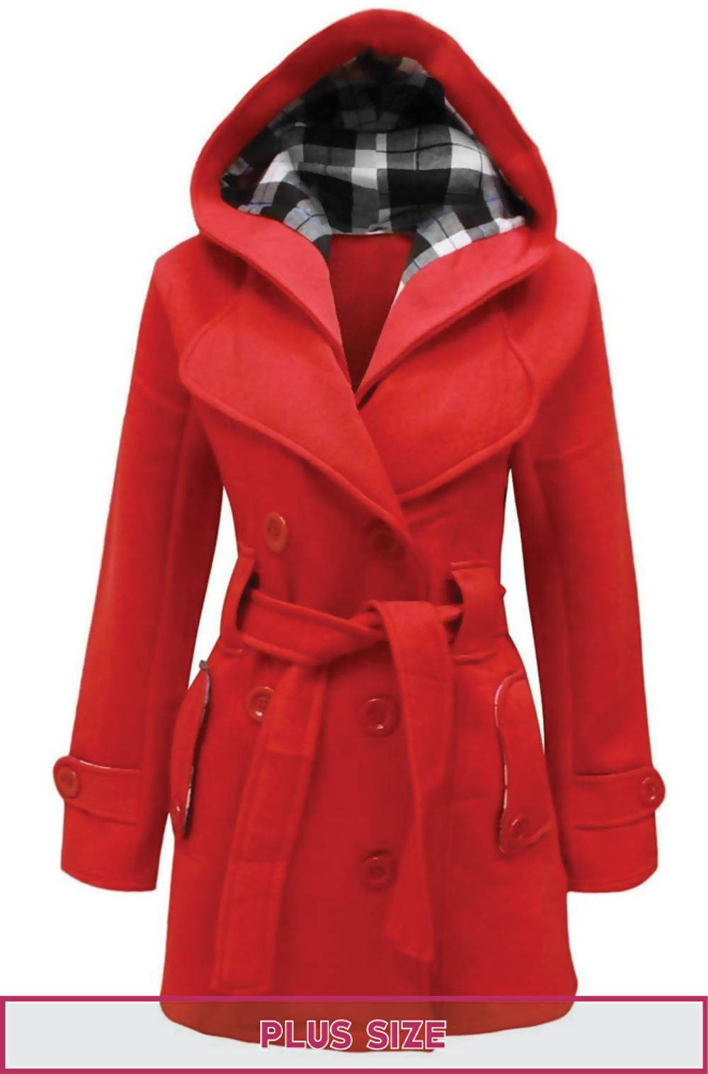Plus Size Red Double Breast Coat J5 Fashion