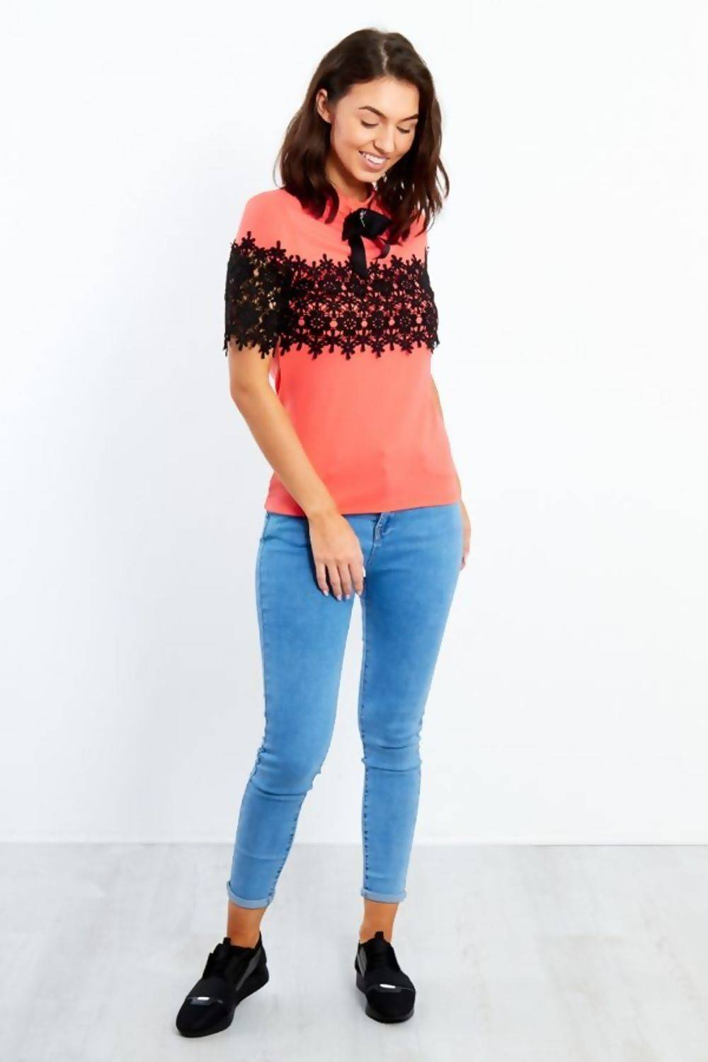 Black Floral lace Front With Broach J5 Fashion