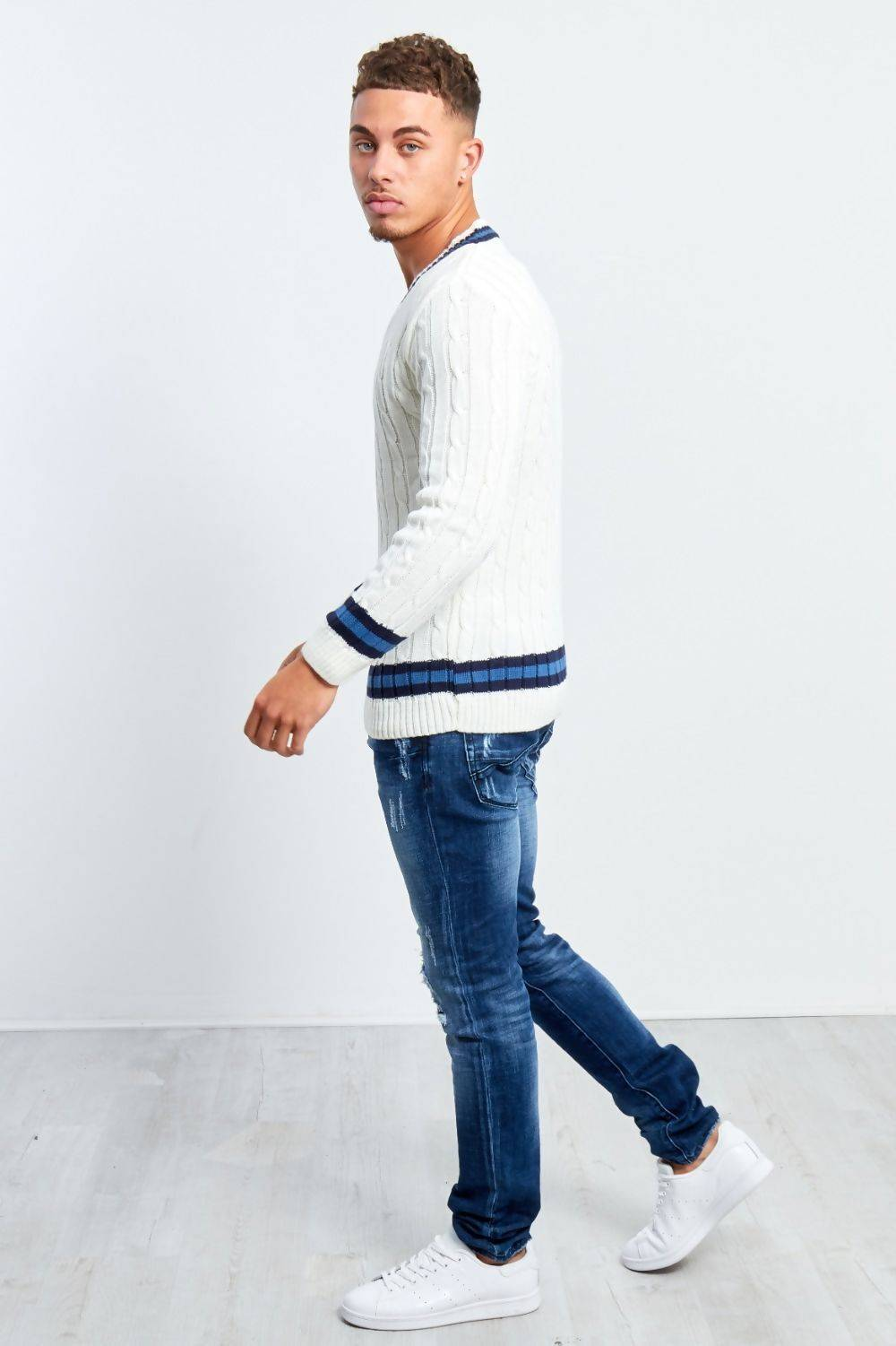 Cream Cable Knitted V Neck Cricket Jumper J5 Fashion