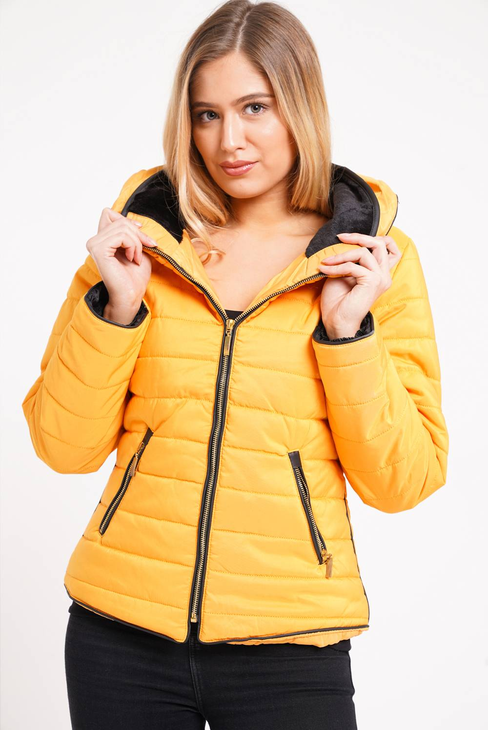Mustard Quilted Padded Puffer Bubble Fur Collar Jacket J5 Fashion