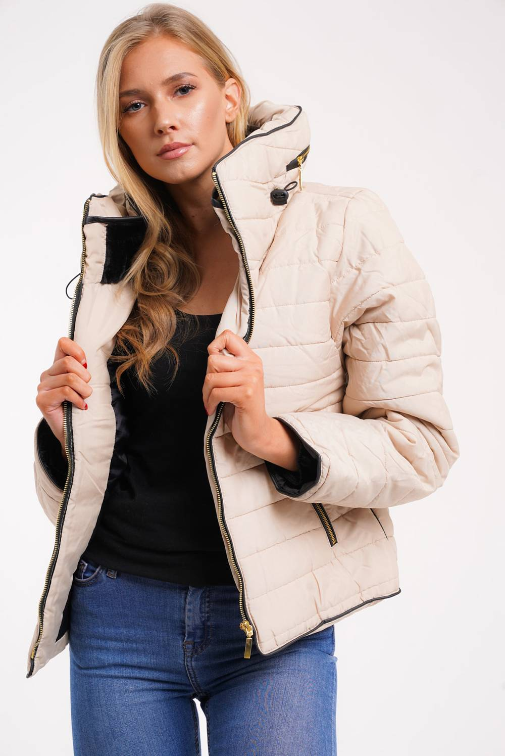 Stone Quilted Padded Puffer Bubble Fur Collar Jacket J5 Fashion