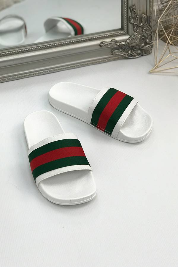 White with Red and Green Stripe Sliders  J5 Fashion
