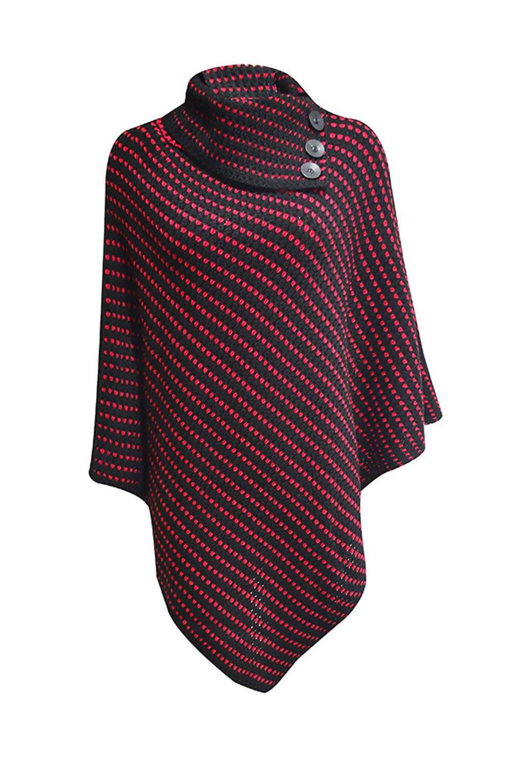 White With Red Dot Detail Cable Knit Poncho J5 Fashion