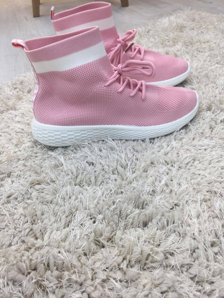 Pink Lace Up Sock Trainers J5 Fashion