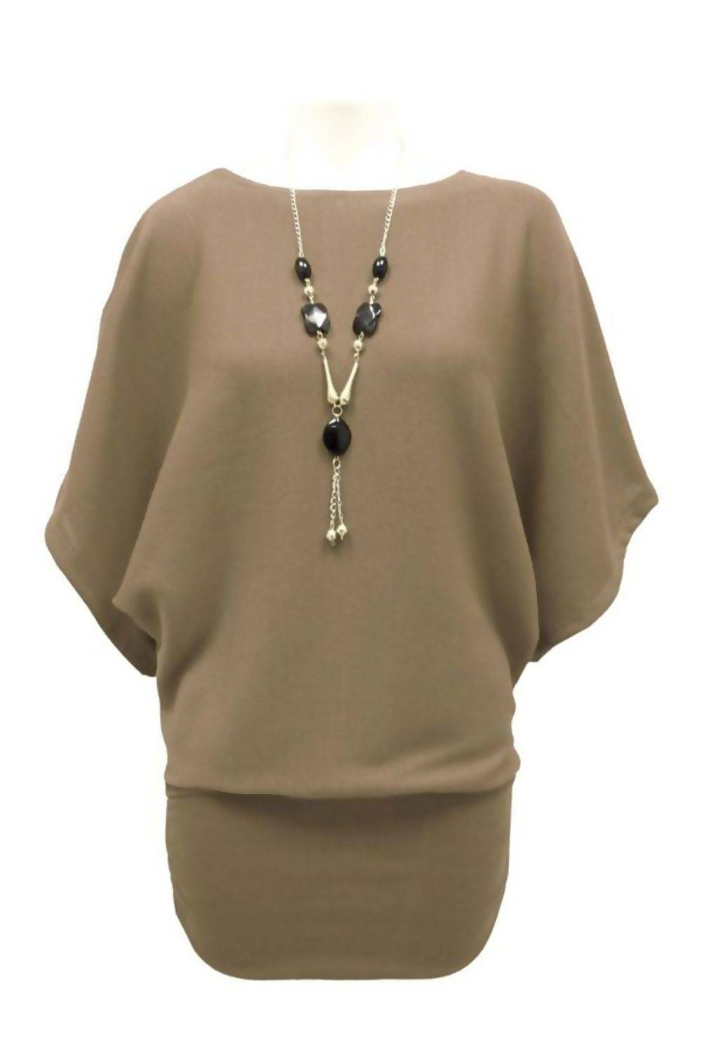 Khaki Batwing Jumper With Necklace J5 Fashion