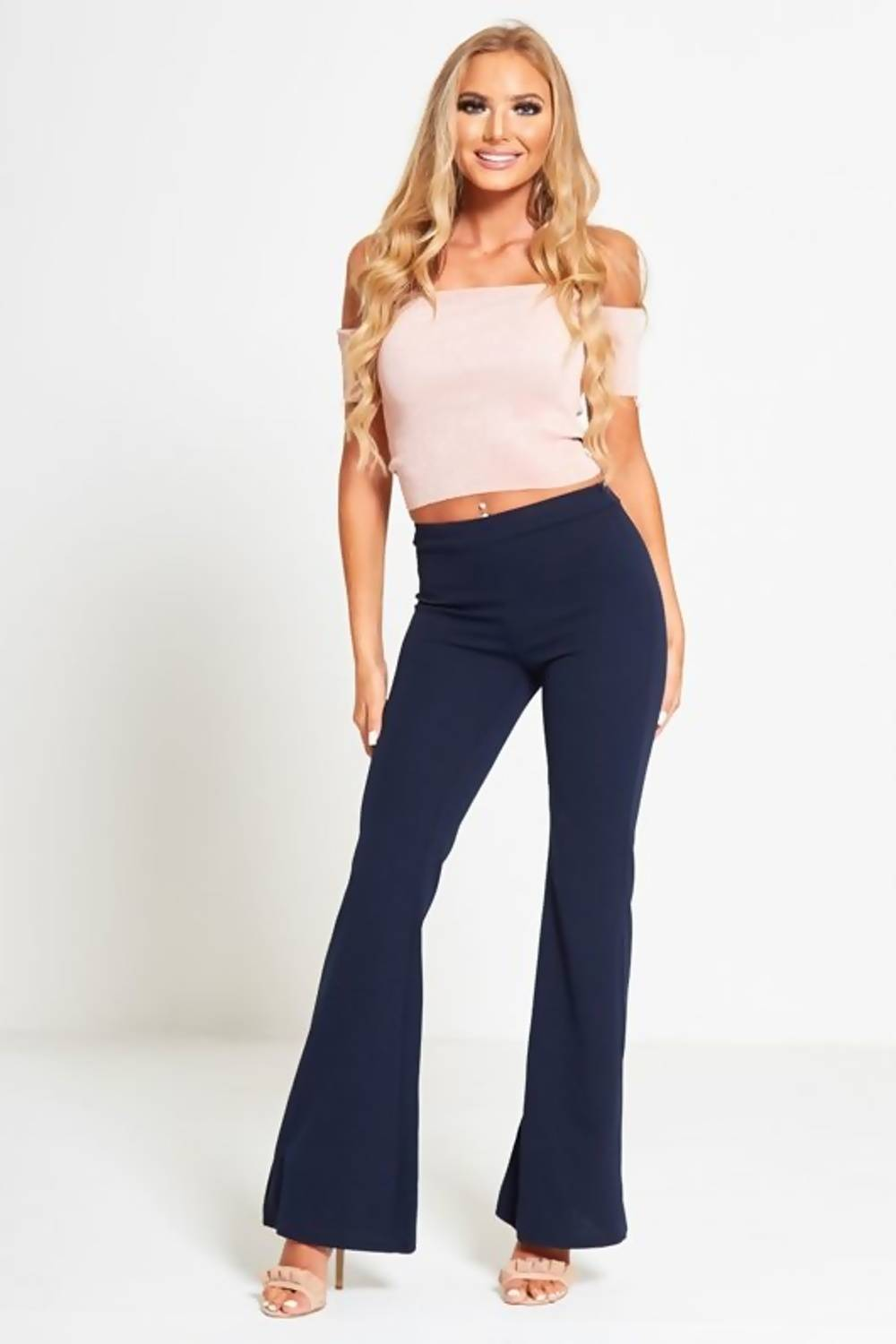 Navy Woven High Rise Flare Trousers J5 Fashion